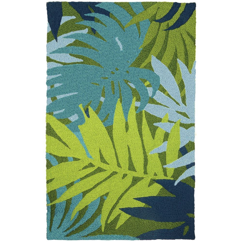 Jelly Bean Throw Rugs: Jellybean Blue Palms Indoor/Outdoor Rug