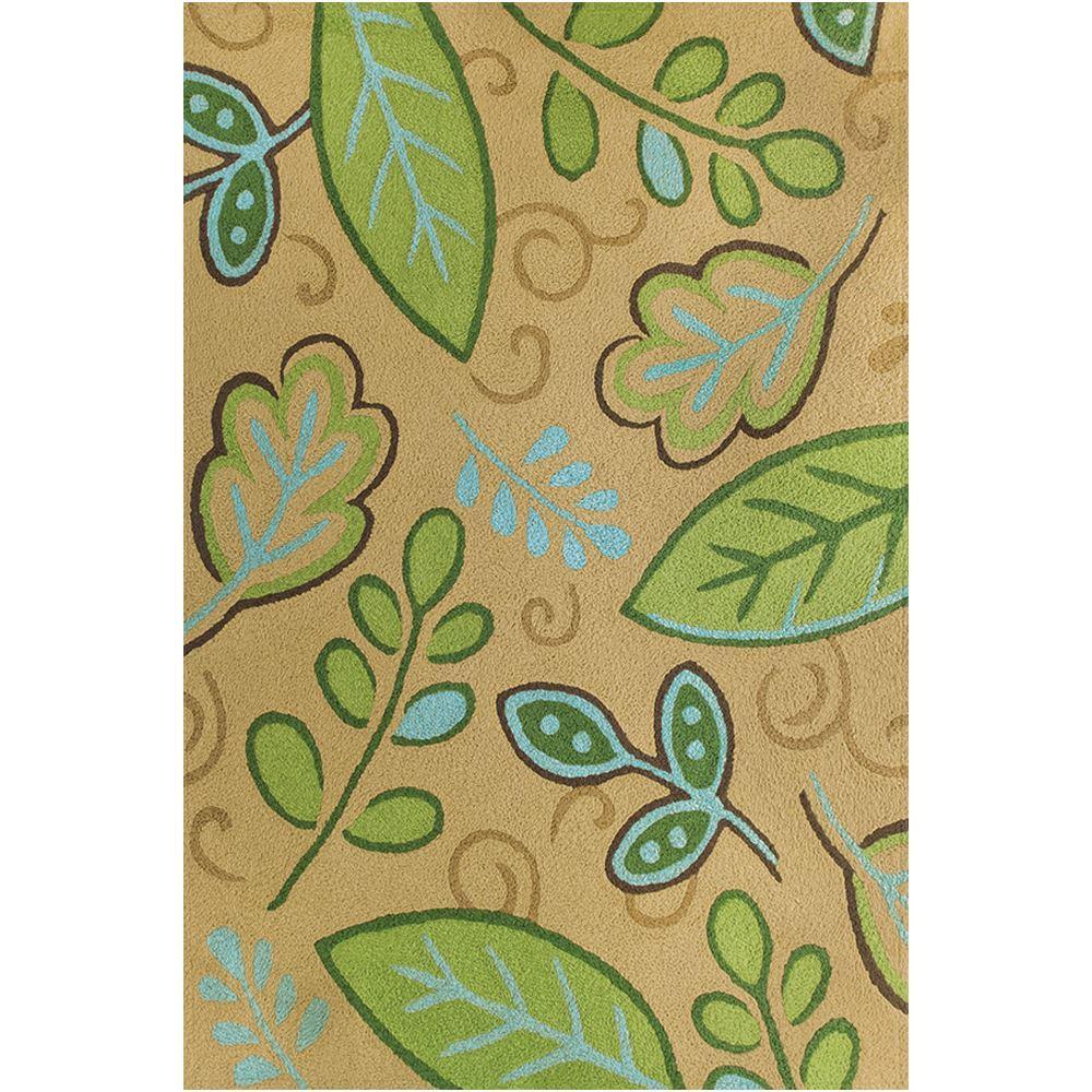 Jellybean Green Leaves Indoor Outdoor Rug