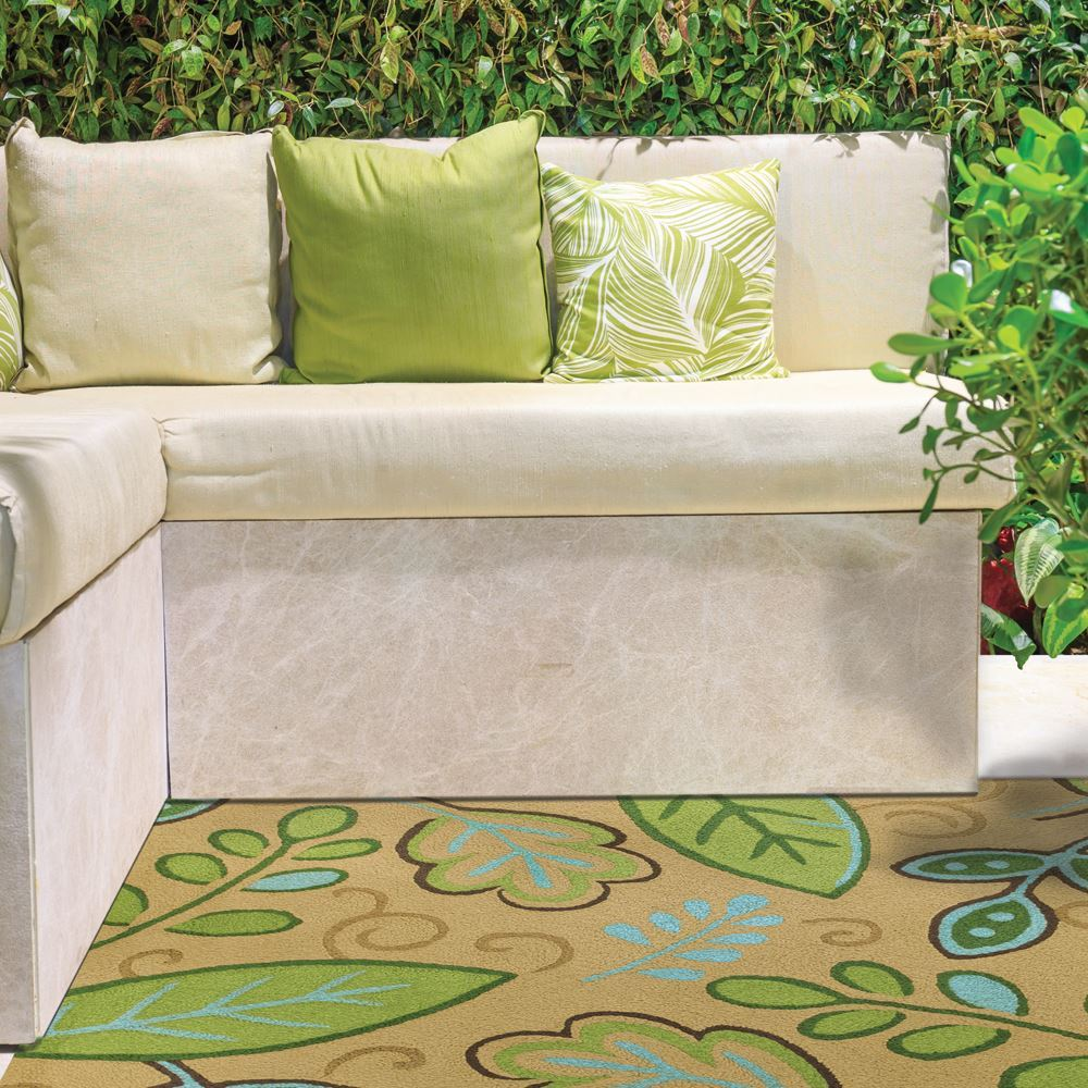 Jelly Bean Throw Rugs: Jellybean Green Leaves Indoor/Outdoor Rug