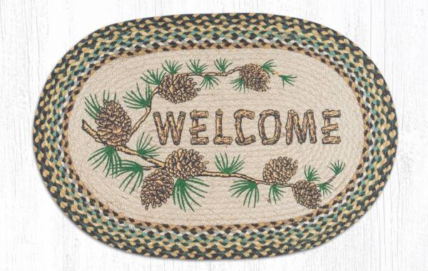 Oval 20x30 Pinecone Welcome Rug Yourporch Net